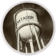 Matador Texas Water Tower Round Beach Towel
