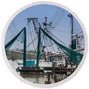Matagorda Fishing Boats Round Beach Towel