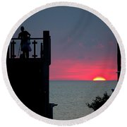 Matching July Lights Round Beach Towel
