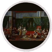 Private Chamber Of An Aristocratic Turkish Woman Round Beach Towel