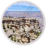 Mather Point At The Grand Canyon Round Beach Towel