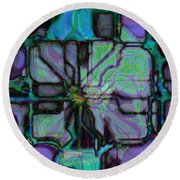 Matrices In Glass Houses Round Beach Towel