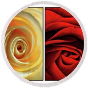 Matters Of The Heart - Diptych Round Beach Towel