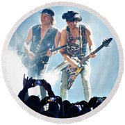 Matthias Jabs And Rudolf Schenker Shredding Round Beach Towel