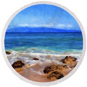 Maui Beach And View Of Lanai Round Beach Towel