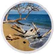 Maui Beach Dirftwood Fine Art Photography Print Round Beach Towel