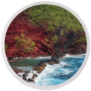 Maui Red Sand Beach Round Beach Towel by Inge Johnsson