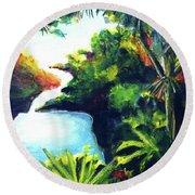 Maui Seven Sacred Falls #184 Round Beach Towel