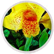 Maui Yellow Floral Round Beach Towel