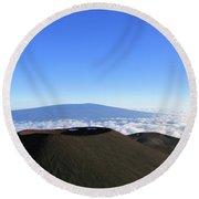 Mauna Loa In The Distance Round Beach Towel