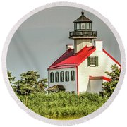 Maurice River, New Jersey, East Pointe  Lighthouse Round Beach Towel