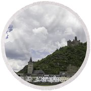 Maus Castle And The Village Of Wellmich Round Beach Towel