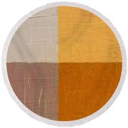 Mauve And Peach Round Beach Towel by Michelle Calkins