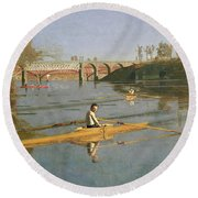 Max Schmitt In A Single Scull Round Beach Towel by Thomas Cowperthwait Eakins