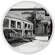 Max's Diner New Jersey Black And White Round Beach Towel