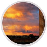 May Day Silo Sunset Round Beach Towel