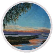 May River Sunset Round Beach Towel by Stanton Allaben