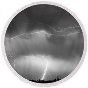 May Showers - Lightning Thunderstorm  Bw 5-10-2011 Round Beach Towel
