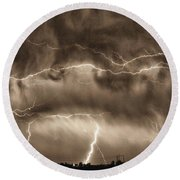 May Showers - Lightning Thunderstorm Sepia Hdr Round Beach Towel