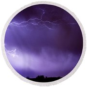 May Showers 2 In Color - Lightning Thunderstorm 5-10-11 Boulder Round Beach Towel