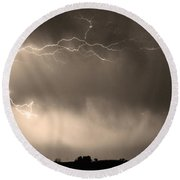 May Showers 2 In Sepia - Lightning Thunderstorm 5-10-2011   Round Beach Towel