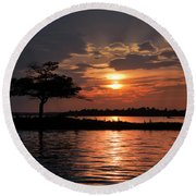 May Sunset At Detroit Point Round Beach Towel