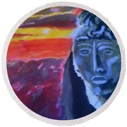 Maya Sunset Round Beach Towel