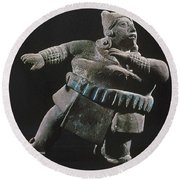 Mayan Athlete, 700-900 A.d Round Beach Towel