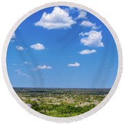 Mayan Temple And Landscape Round Beach Towel