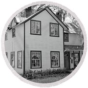 Mayors House Black And White Round Beach Towel