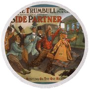 Mazie Trumbull And Her Fun Crowd Dads Side Partner Vintage Entertainment Poster 1908 Round Beach Towel