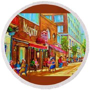 Mazurka Cafe Round Beach Towel