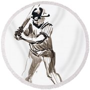 Mbl Batter Up Round Beach Towel