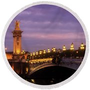 Bridge Of Alexandre IIi At Night Round Beach Towel