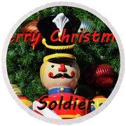 Custom Soldier Christmas Card Round Beach Towel