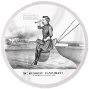 Mcclellan The Gunboat Candidate Round Beach Towel