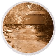 Mcconnells Mill Covered Bridge Sepia Round Beach Towel