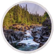 Mcdonald Creek Falls Round Beach Towel