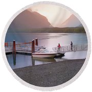 Mcdonald Lake At Dusk Round Beach Towel