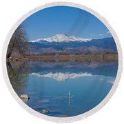 Mcintosh Lake Reflections Round Beach Towel