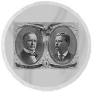 Mckinley And Roosevelt Election Poster Round Beach Towel