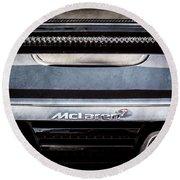 Mclaren 12c Spider Rear Emblem -0106ac Round Beach Towel