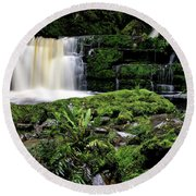 Mclean Falls In Southland New Zealand Round Beach Towel
