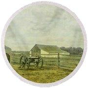 Mcpherson Barn And Cannon Gettysburg  Round Beach Towel