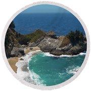 Mcway Falls In Big Sur Round Beach Towel