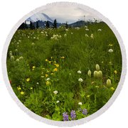 Meadow Beneath The Storm Round Beach Towel