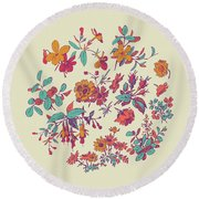 Meadow Flower And Leaf Wreath Isolated On Beige, Circle Doodle F Round Beach Towel