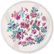 Meadow Flower And Leaf Wreath Isolated On Pink, Circle Doodle Fl Round Beach Towel