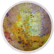 Meadow Flowers Abstract Round Beach Towel