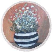 Meadow Flowers In Striped Vase  Round Beach Towel